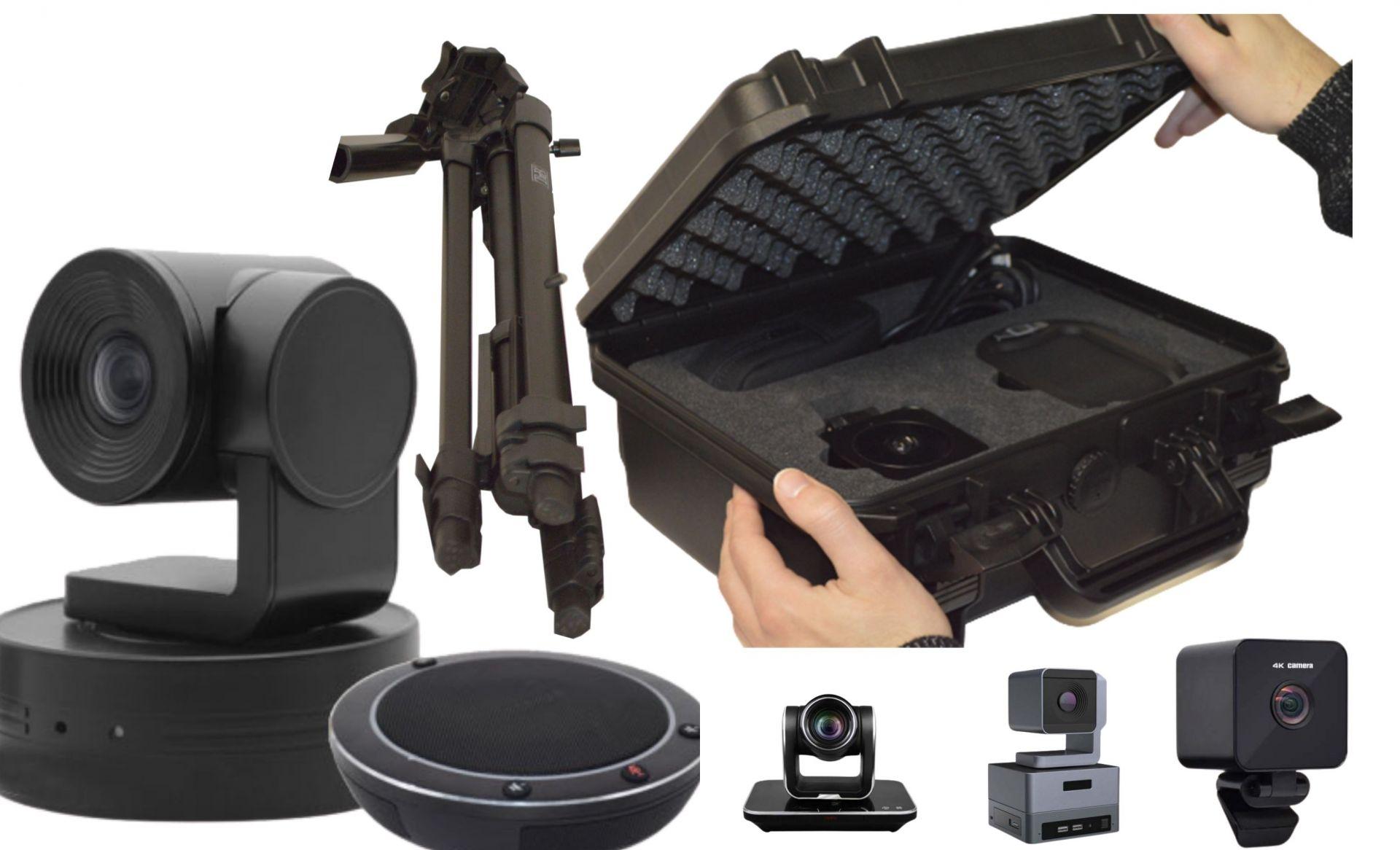 Valise de vidéo-conférence avec caméra 4k ultra hd, trépied et haut-parleurs