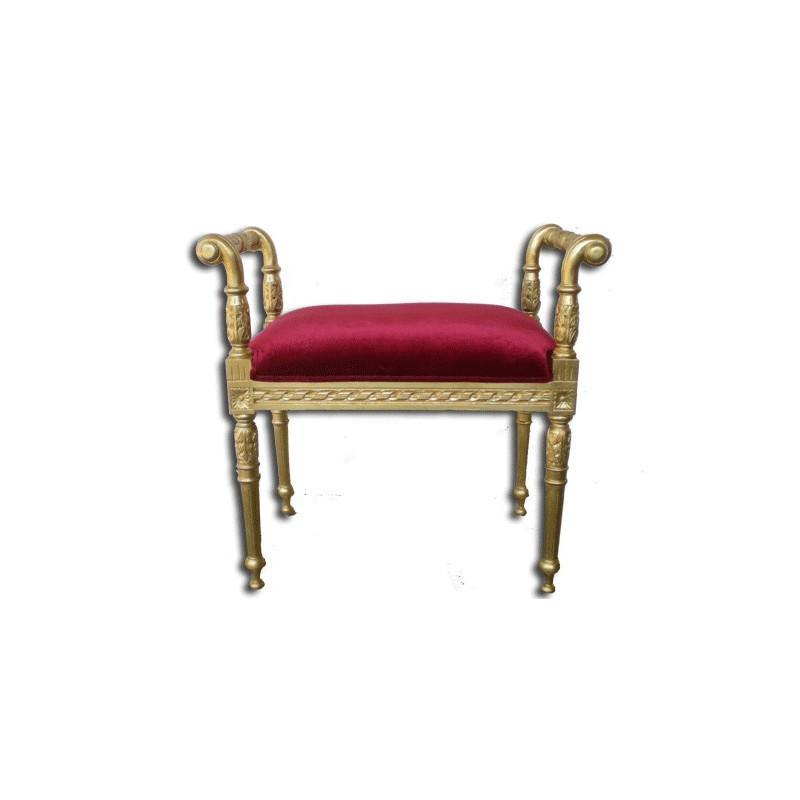 banquette de style velours rouge et bois dore bettina petit modele. Black Bedroom Furniture Sets. Home Design Ideas
