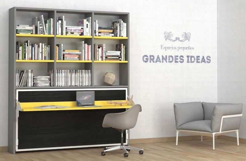 armoire lit transversale ares grise et jaune avec bureau integre couchage 90 22 200 cm. Black Bedroom Furniture Sets. Home Design Ideas