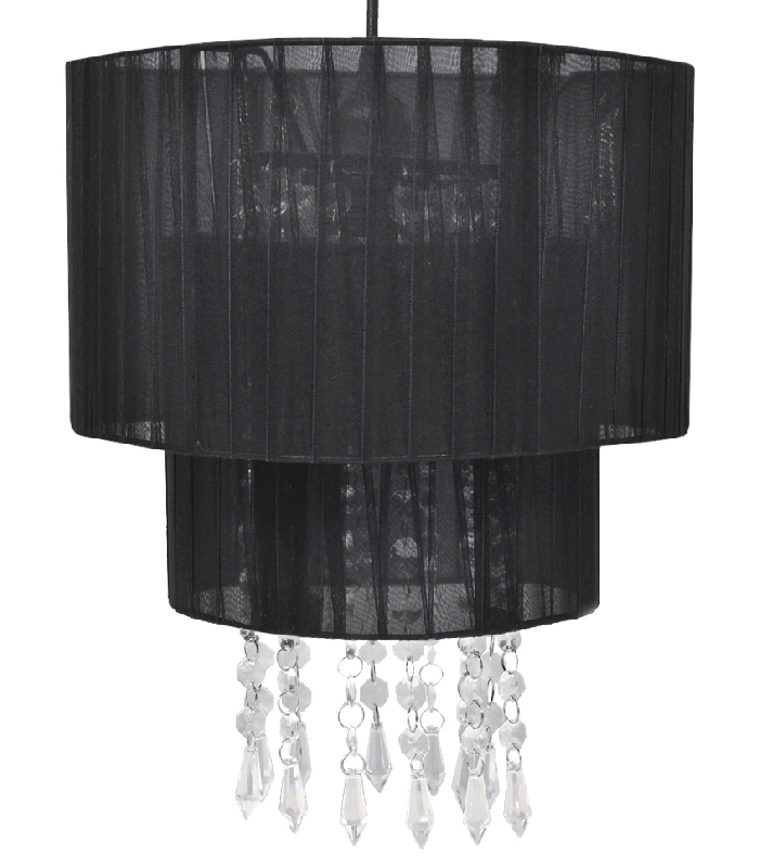 Lustre plafonnier suspendu lampe moderne cristal noir 33 cm 2402011