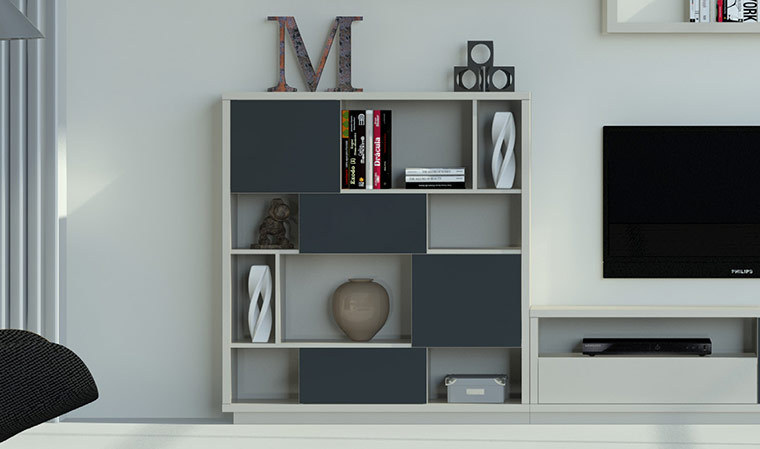 meuble bibliotheque design graphite vison 4 niveaux. Black Bedroom Furniture Sets. Home Design Ideas