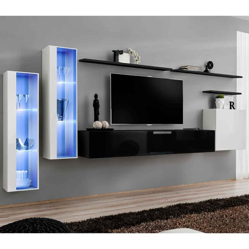 Meuble Tv Mural Design Switch Xi 330cm Noir Blanc Paris Prix