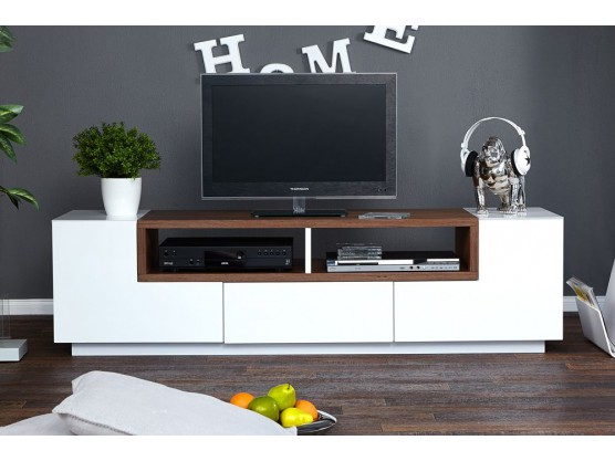 meuble tv design bosselli high gloss blanc bois massif. Black Bedroom Furniture Sets. Home Design Ideas