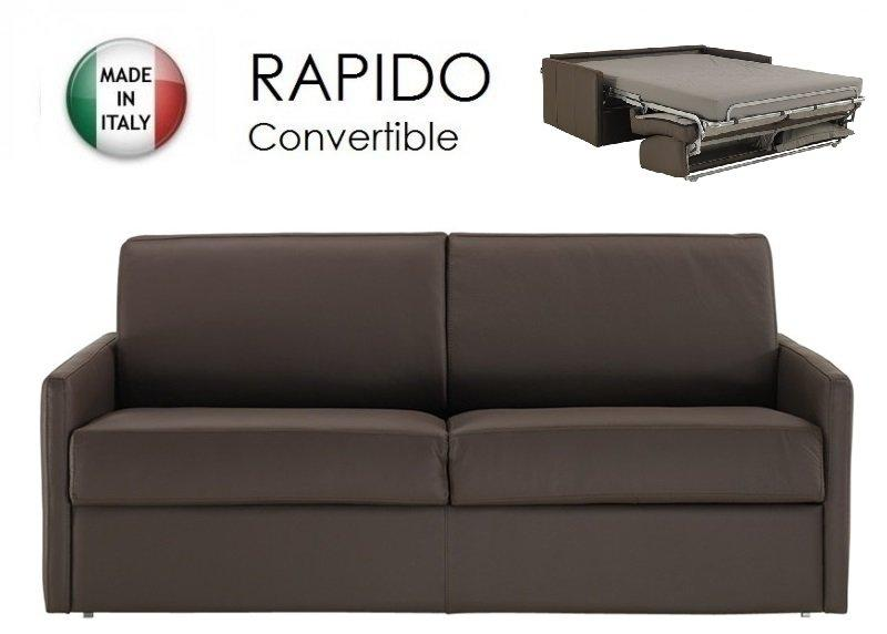 Canape lit 2 3 places sun convertible ouverture rapido for Canape cuir marron 2 places