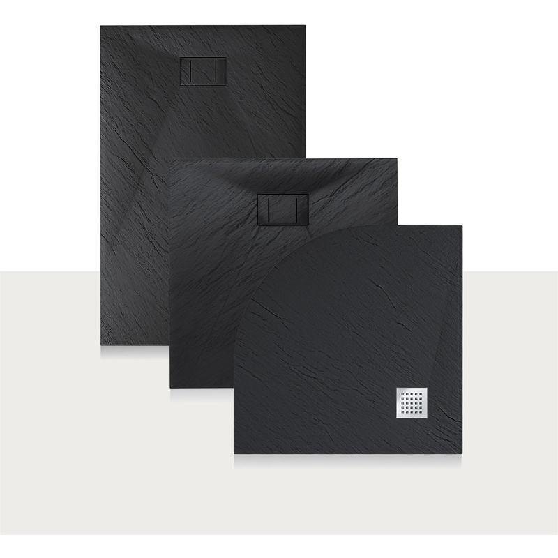 Idralite Bac /à Douche 80x140x2,6 CM Rectangulaire Blanc Effet Pierre Mod Blend