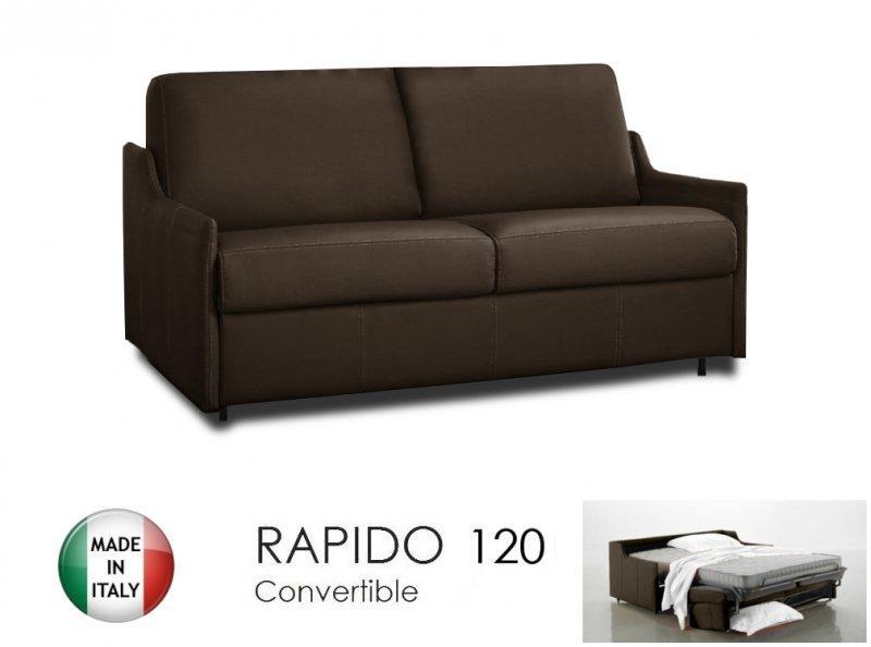 canape lit 2 3 places luna convertible ouverture rapido 120cm cuir eco marron. Black Bedroom Furniture Sets. Home Design Ideas