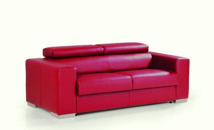 canape rapido sidney cuir rouge matelas 14cm couchage quotidien 140cm. Black Bedroom Furniture Sets. Home Design Ideas