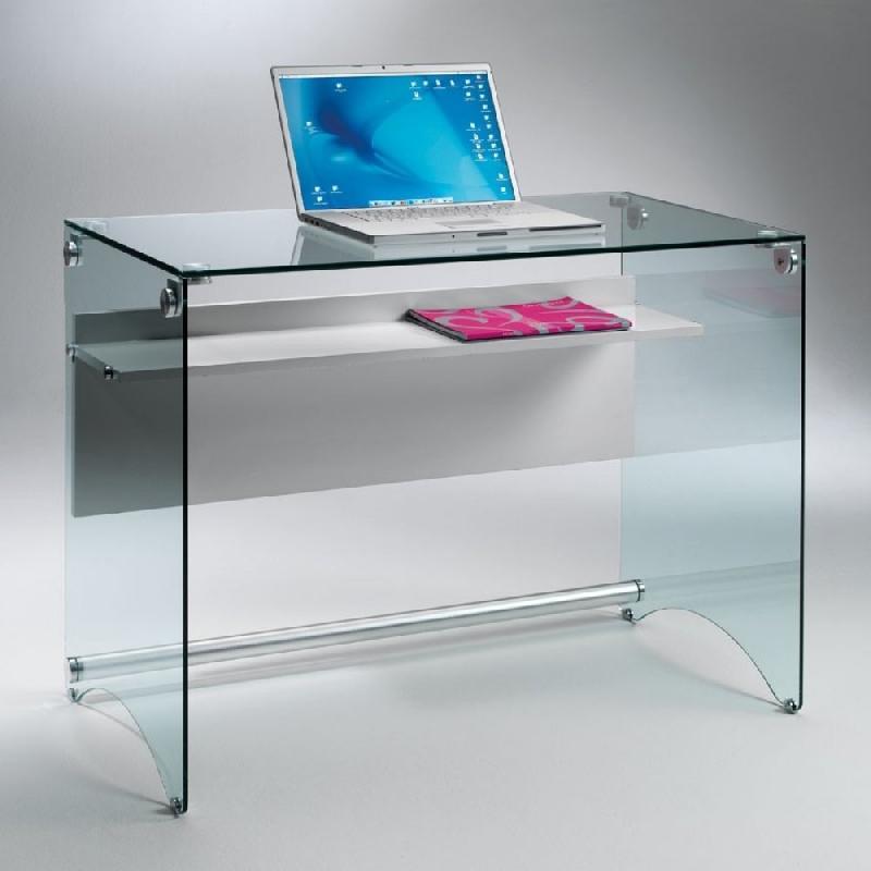 bureau charli design en verre avec une tag re en bois stratifi gris comparer les prix de. Black Bedroom Furniture Sets. Home Design Ideas