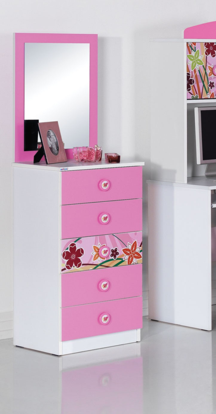 commode coiffeuse fille blanche et rose design cindy with. Black Bedroom Furniture Sets. Home Design Ideas