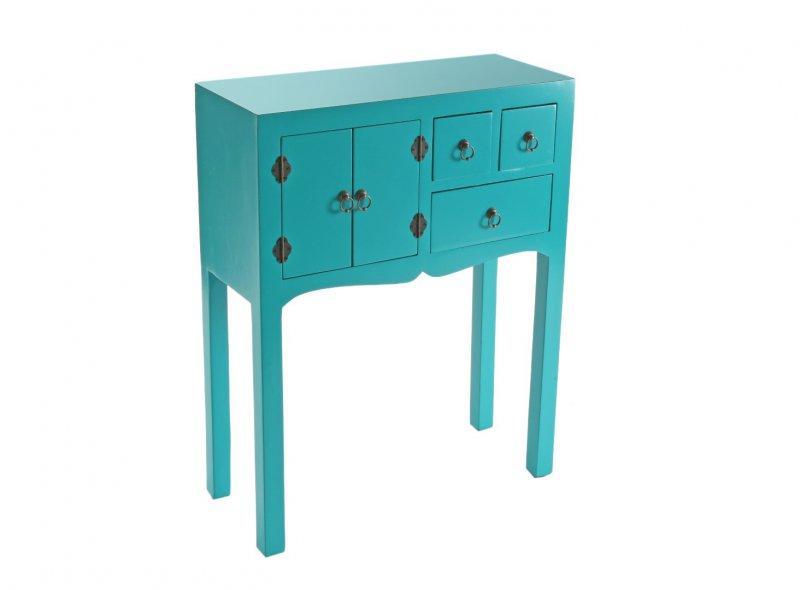 matmata petite console design turquoise en bois 3 tiroirs 2 portes. Black Bedroom Furniture Sets. Home Design Ideas