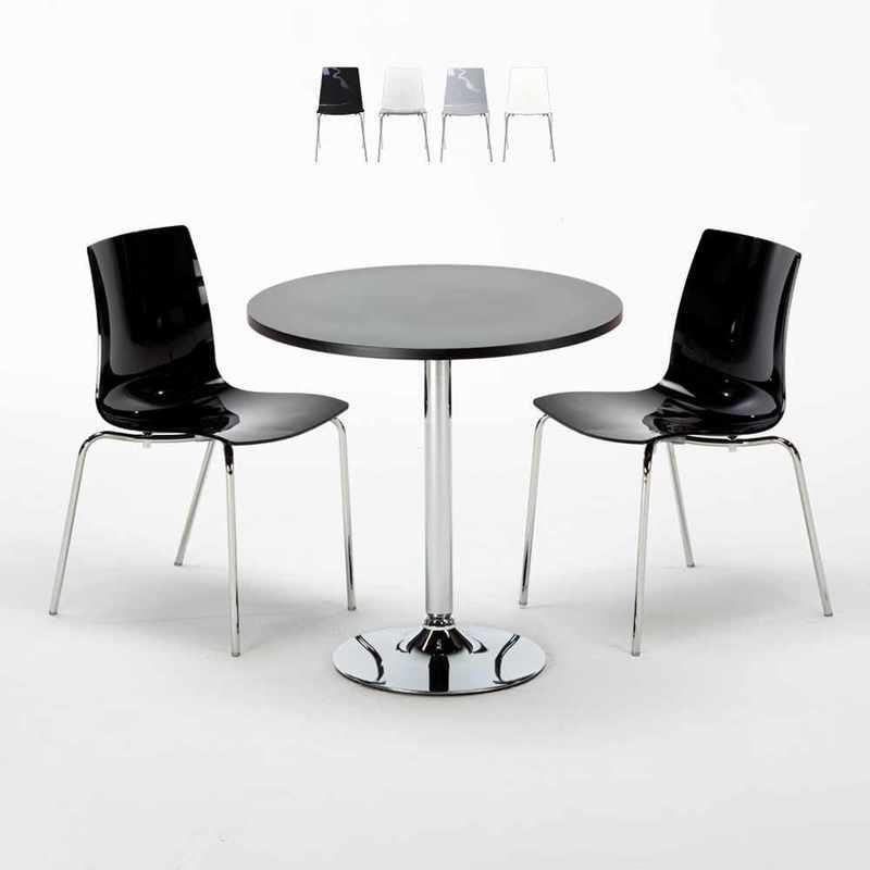 TABLE RONDE NOIRE 70X70CM AVEC 2 CHAISES COLORÉES ET TRANSPARENTES SET INTÉRIEUR BAR CAFÉ LOLLIPOP GOLD | NOIR - GRAND SOLEIL