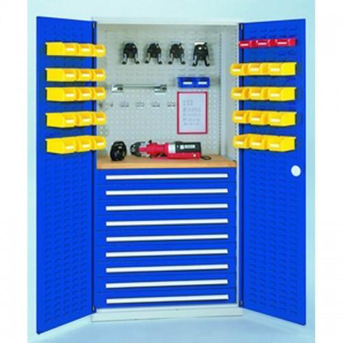 armoire d 39 atelier a 9 tiroirs avec portes a fentes h1950xl1000xp600mm. Black Bedroom Furniture Sets. Home Design Ideas