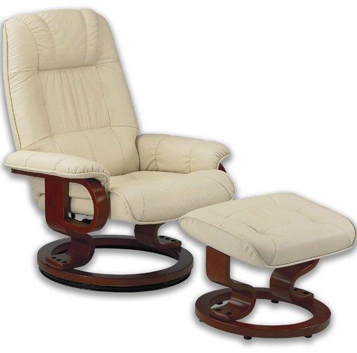 excel fauteuil relax avec repose pieds cuir beige comparer les prix de excel fauteuil relax. Black Bedroom Furniture Sets. Home Design Ideas