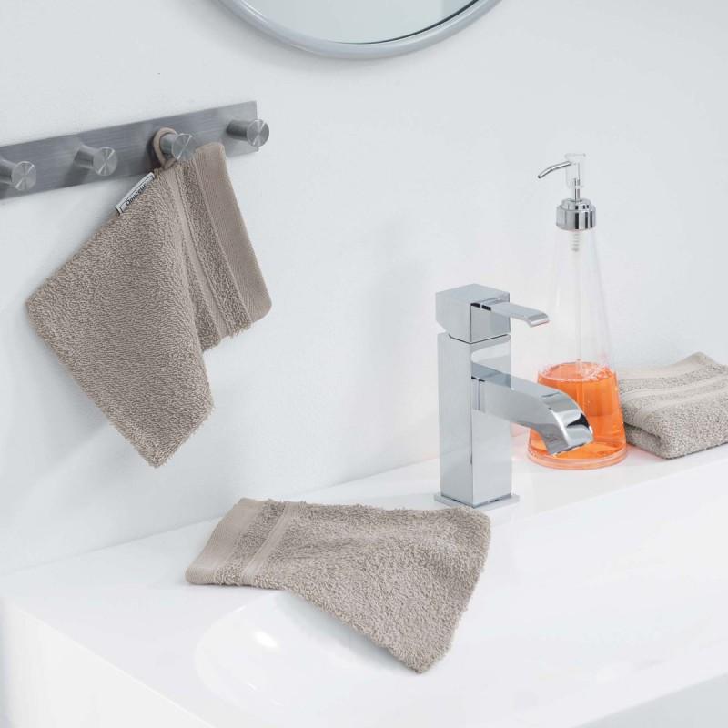 Lot de 2 gants de toilette vitamine 15x21cm taupe - paris prix