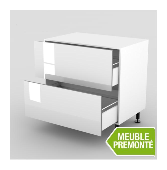 meuble bas 100cm 2 casseroliers 70x100 cristal blanc expo cuisines. Black Bedroom Furniture Sets. Home Design Ideas