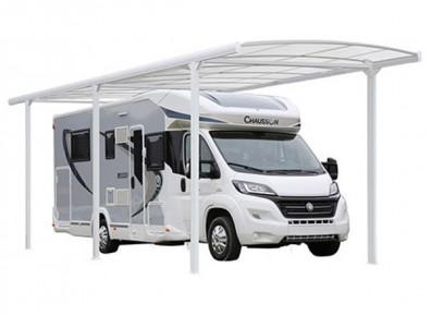 Abri camping-car ouvert Alu Blanc / structure en aluminium / toiture plate en polycarbonate