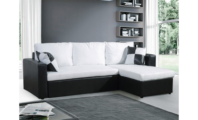 pacific blanc canape d 39 39 angle convertible lit microfibre coffre de rangement blanc. Black Bedroom Furniture Sets. Home Design Ideas