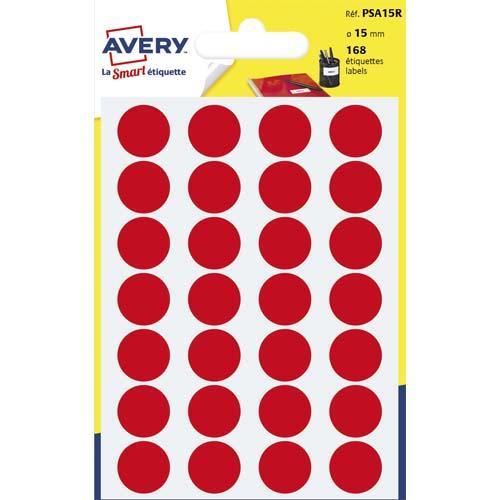 Avery sachet de 168 pastilles ø15 mm. ecriture manuelle. coloris rouge.