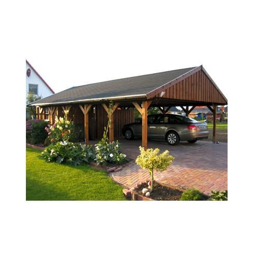 Abri voiture autoportant / structure en bois / toiture à deux pans en bois
