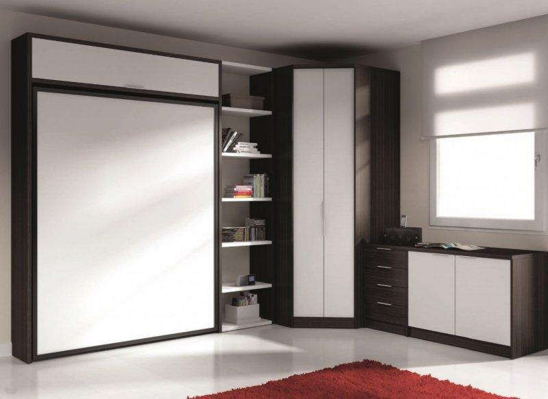 armoire lit escamotable eros avec rangements couchage 140 190cm. Black Bedroom Furniture Sets. Home Design Ideas