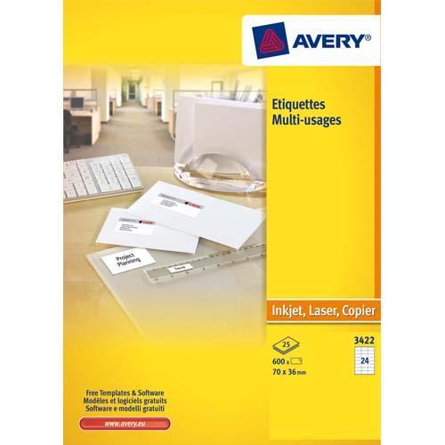 Avery boîte de 2400 étiquettes blanches multi usages 70x35mm - pour laser. jet d'encre et copieur
