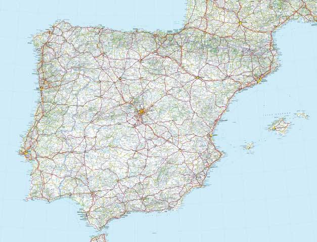 carte routiere espagne et portugal