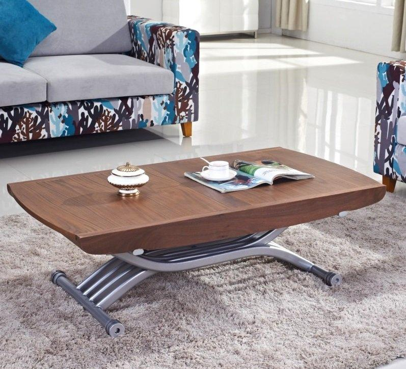 Table relevable lift noyer extensible en table repas 8 couverts - Table de salon relevable et extensible ...