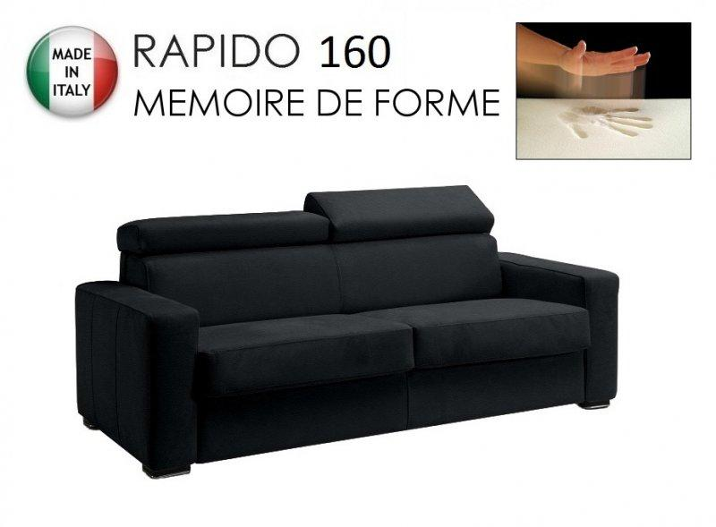 canape rapido sidney deluxe memory matelas 160 14 190 cm memoire de forme cuir vachette noir. Black Bedroom Furniture Sets. Home Design Ideas