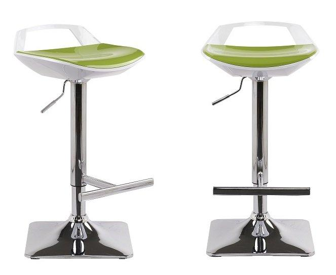 lot de 2 tabourets chaises de bar reglables ovni blanc vert. Black Bedroom Furniture Sets. Home Design Ideas