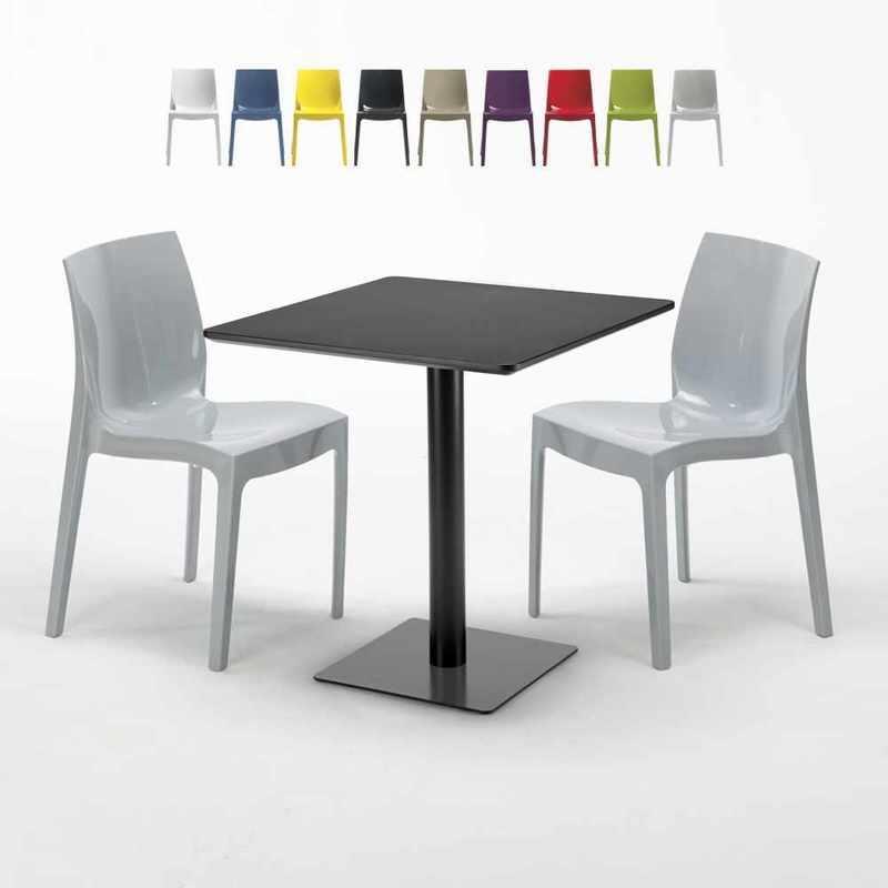 TABLE CARRÉE NOIRE 70X70 AVEC 2 CHAISES COLORÉES ICE KIWI | GRIS - GRAND SOLEIL