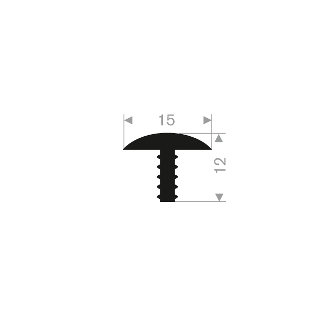PROFIL EN T 15-12MM CAOUTCHOUC COMPACT