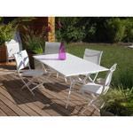 Salon de jardin alu textilène 6 places blanc malaga salon de ...