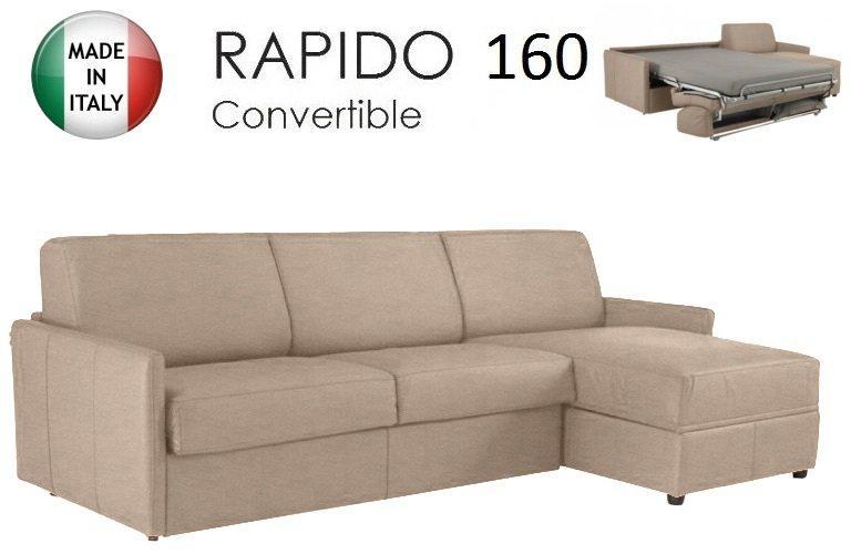 canape d 39 angle sun convertible ouverture rapido 160cm tissu microfibre ecru. Black Bedroom Furniture Sets. Home Design Ideas