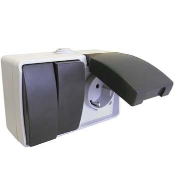 interrupteur double prise tanche ms536002 double interrupteur va et vient prise tanche. Black Bedroom Furniture Sets. Home Design Ideas