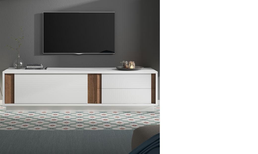 Meuble Tele Design Blanc Laque Mat Et Couleur Bois Fonce Helsinki