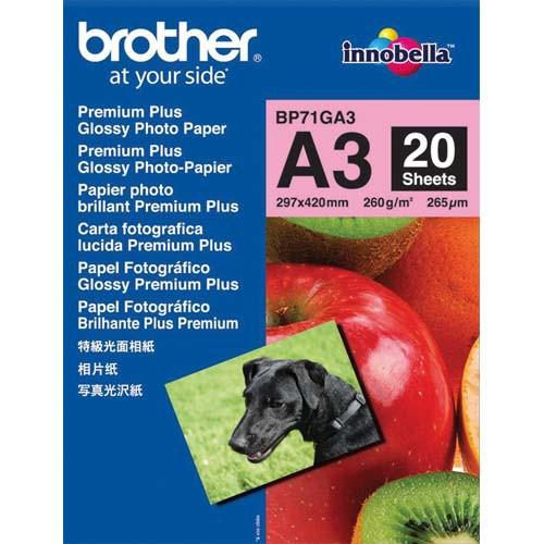 PAPIER PHOTO BROTHER - PACK DE 20 FEUILLES DE PAPIER PHOTO FORMAT A3 BROTHET-BP71GA3