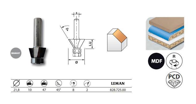 LEMAN - FRAISE D'AFFLEUREUSE DIAMANT PENTE 45° AVEC ROULEMENT Q.8 21,8X10X47 - 828.725.00