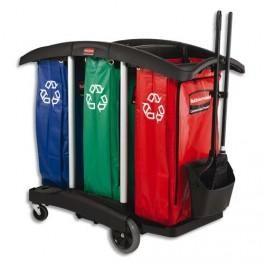 rubbermaid chariot triple capacit pour le tri s lectif livr avec 3 sacs comparer les prix de. Black Bedroom Furniture Sets. Home Design Ideas