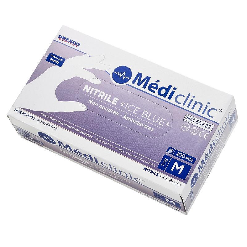 PACK (10 + 5 GRATUITS) GANTS NITRILE «ICE BLUE» NON-POUDRÉS MÉDICLINIC