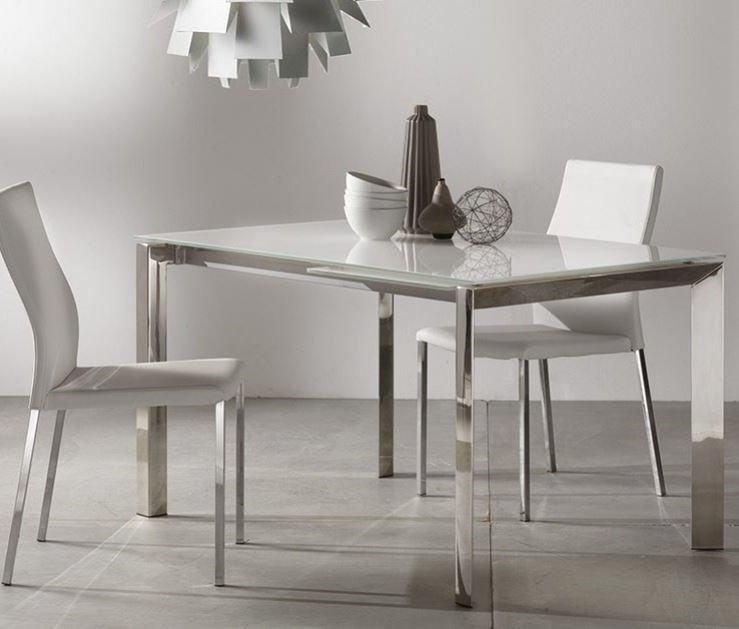 Table repas extensible titanium 130 x 80 cm verre blanc et for Table a manger verre extensible
