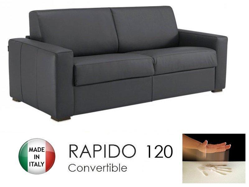 canape convertible rapido 120cm dreamer cuir vachette gris graphite matelas 120 14 190 cm a. Black Bedroom Furniture Sets. Home Design Ideas