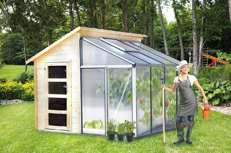 abri de jardin serre adoss e polycarbonate combi green. Black Bedroom Furniture Sets. Home Design Ideas