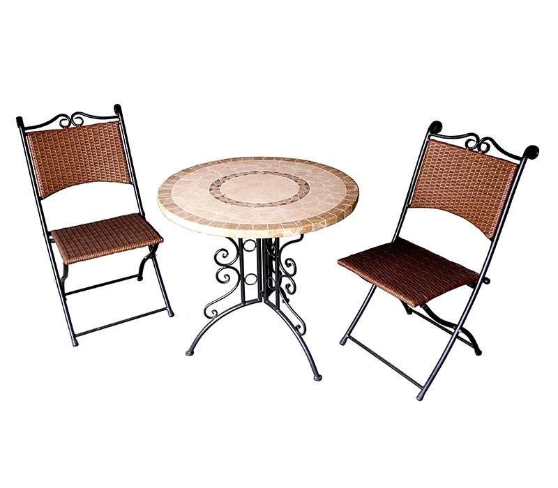 Salon de jardin 2 chaises pliantes et 1 table ronde for Chaises de salon de jardin