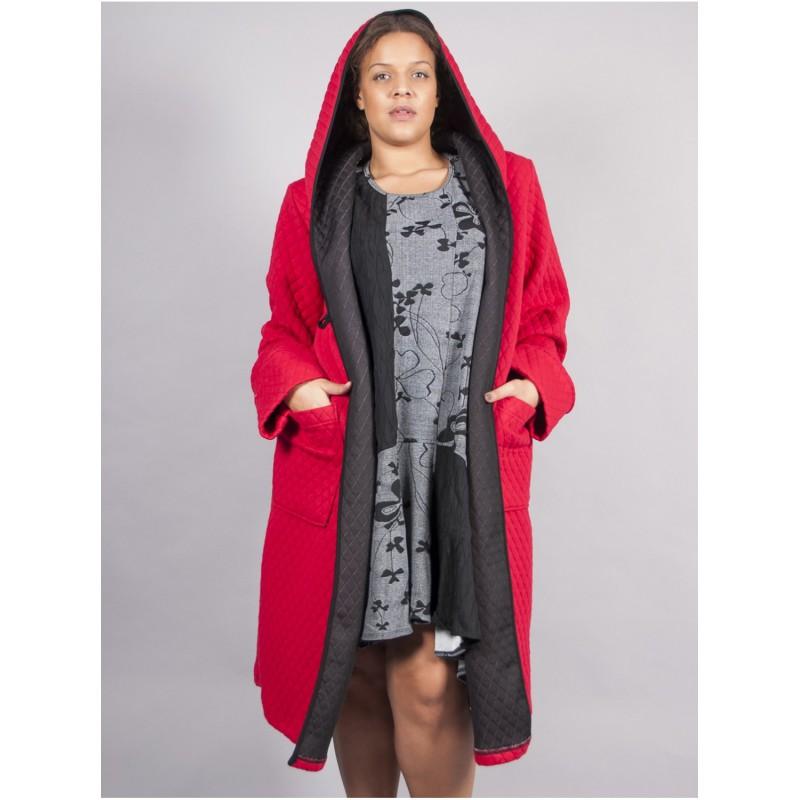 Manteau capuche rouge (taille 48 au 56)