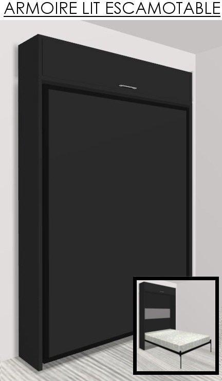 armoire lit escamotable eos noir mat couchage 140 22. Black Bedroom Furniture Sets. Home Design Ideas