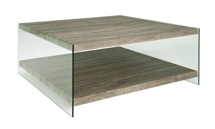 table basse nina en verre et chene gris 90 x 90 cm. Black Bedroom Furniture Sets. Home Design Ideas