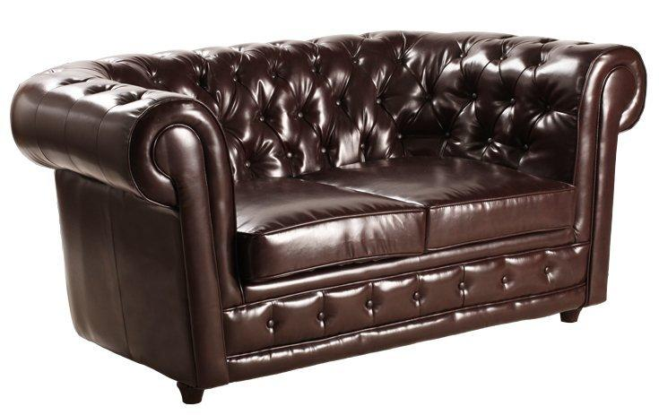 canape chesterfield deluxe 2 places cuir marron capitonne. Black Bedroom Furniture Sets. Home Design Ideas