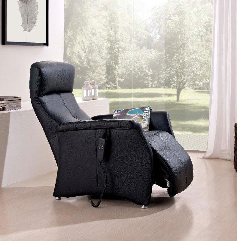 kingston fauteuil relax electrique sans fil cuir vachette noir. Black Bedroom Furniture Sets. Home Design Ideas