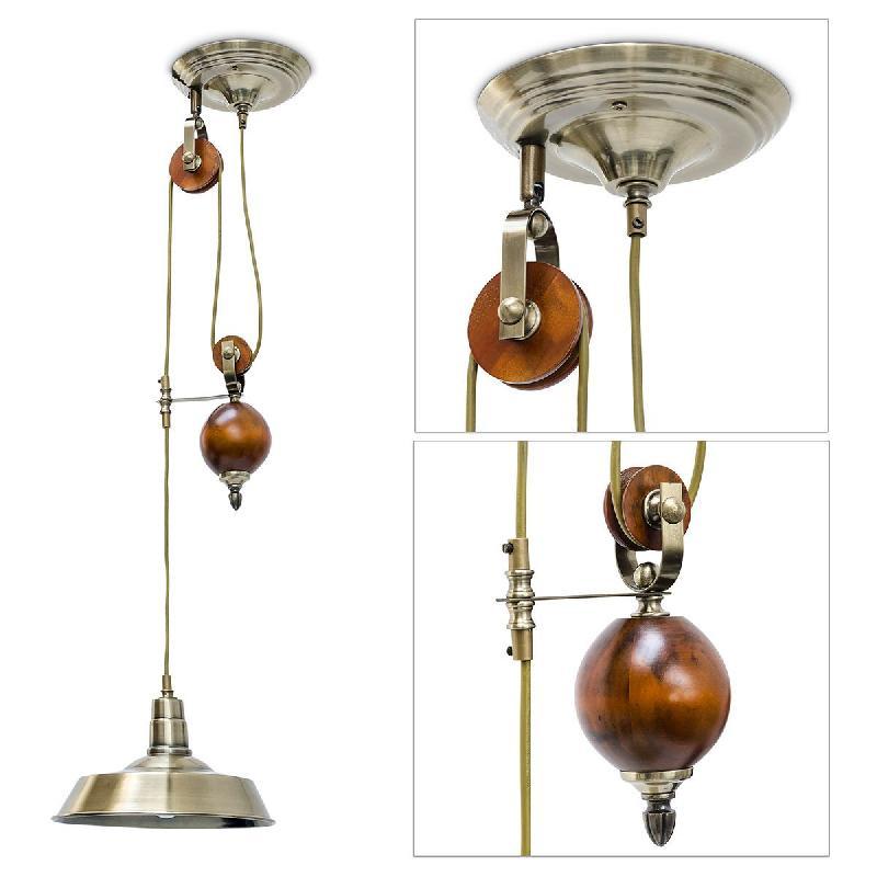 Lampe à suspendre au plafond luminaire avec système de poulie hauteur réglable 13_0002571
