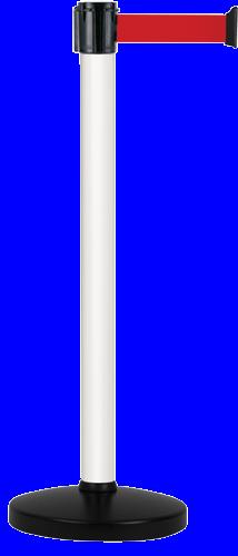 Poteau Alu Blanc laqué à sangle Rouge 3m x 50mm sur socle portable - 2010641